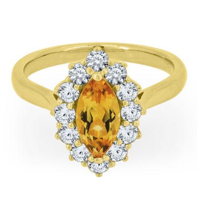 Womens Genuine Yellow Citrine Cocktail Ring