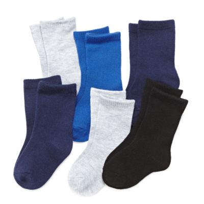 Okie Dokie 6 Pair Crew Socks -  Baby Boy newborn-24m