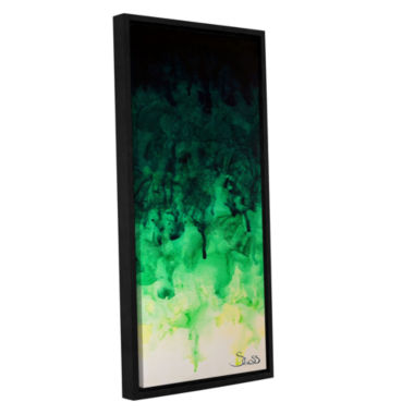 Brushstone Green Watery Gallery Wrapped Floater-Framed Canvas Wall Art