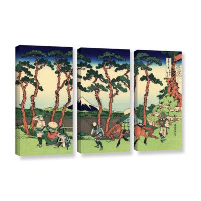 Brushstone Hodogaya On The Tokaido 3-pc. Gallery Wrapped Canvas Wall Art