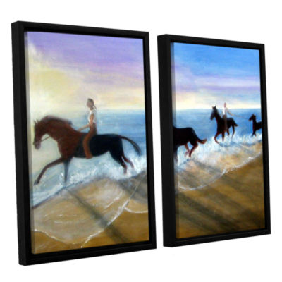 Brushstone Horses On The Beach Painting 2-pc. Floater Framed Canvas Wall Art
