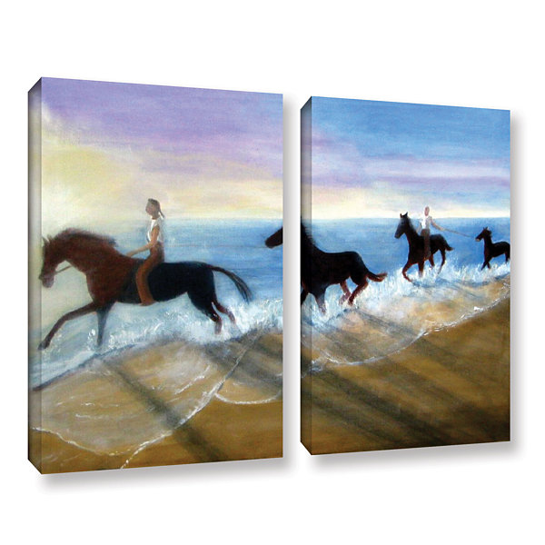 Brushstone Horses On The Beach Painting 2-pc. Gallery Wrapped Canvas Wall Art