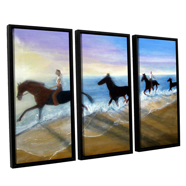 Brushstone Horses On The Beach Painting 3-pc. Floater Framed Canvas Wall Art