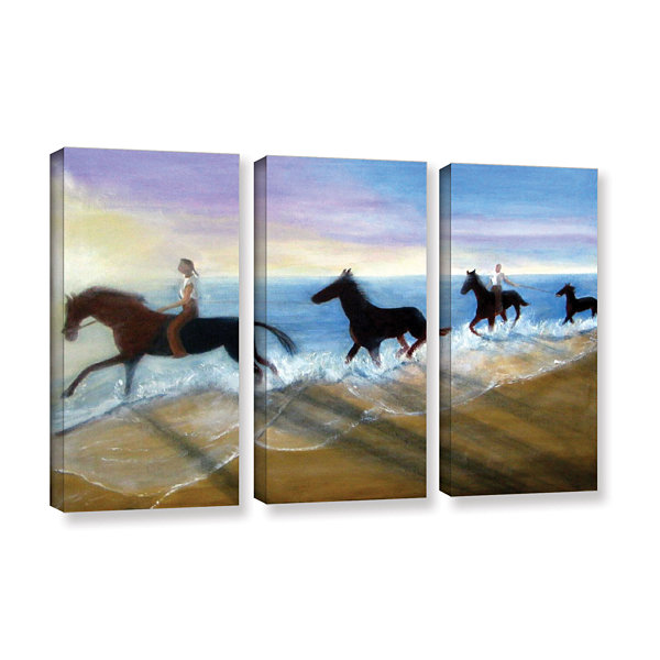 Brushstone Horses On The Beach Painting 3-pc. Gallery Wrapped Canvas Wall Art