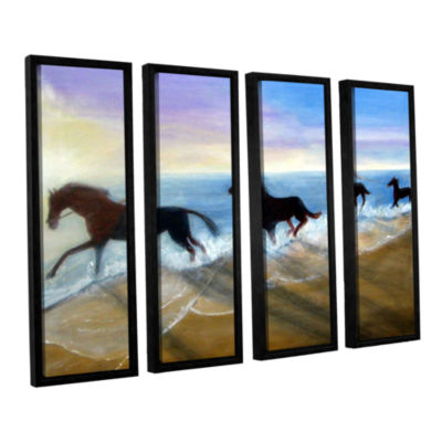Brushstone Horses On The Beach Painting 4-pc. Floater Framed Canvas Wall Art