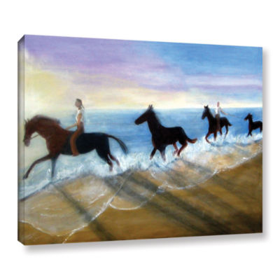 Brushstone Horses On The Beach Painting Gallery Wrapped Canvas Wall Art