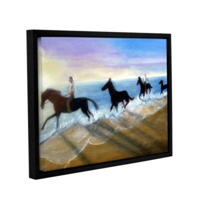 Brushstone Horses On The Beach Painting Gallery Wrapped Floater-Framed Canvas Wall Art