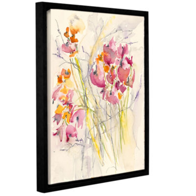 Brushstone Hearts (Flowers) Gallery Wrapped Floater-Framed Canvas Wall Art