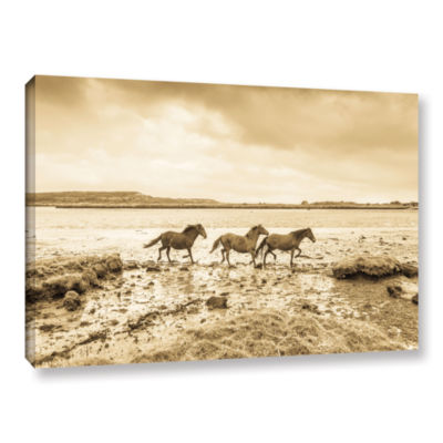 Brushstone Horses Running Along Gallery Wrapped Canvas Wall Art