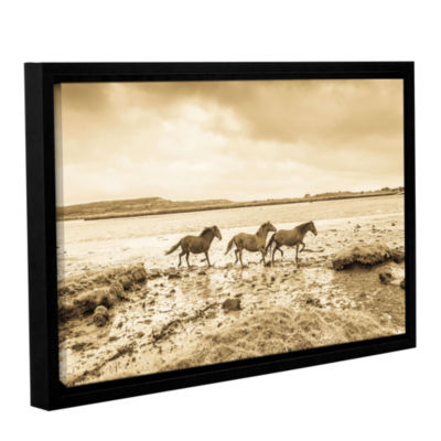 Brushstone Horses Running Along Gallery Wrapped Floater-Framed Canvas Wall Art