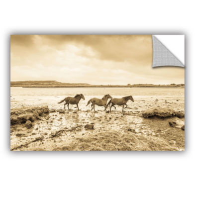 Brushstone Horses Running Along Removable Wall Decal