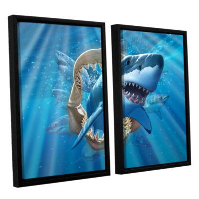 Brushstone Great White Shark 2-pc. Floater FramedCanvas Wall Art