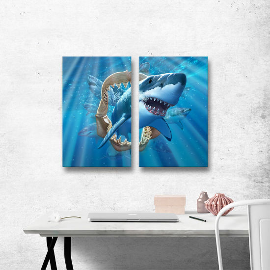 Brushstone Great White Shark 2-pc. Gallery WrappedCanvas Wall Art