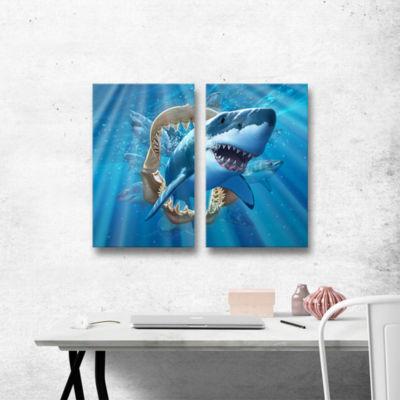 Brushstone Great White Shark 2-pc. Gallery WrappedCanvas Wall Art