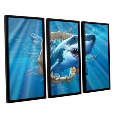 Brushstone Great White Shark 3-pc. Floater FramedCanvas Wall Art