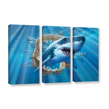 Brushstone Great White Shark 3-pc. Gallery WrappedCanvas Wall Art