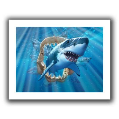 Brushstone Great White Shark Canvas Wall Art