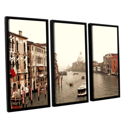 Brushstone Grand Canal From Rialto 3-pc. Floater Framed Canvas Wall Art