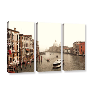 Brushstone Grand Canal From Rialto 3-pc. Gallery Wrapped Canvas Wall Art