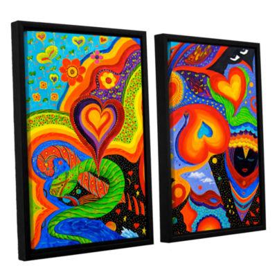 Brushstone Hearts 2-pc. Floater Framed Canvas WallArt