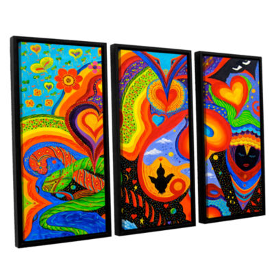Brushstone Hearts 3-pc. Floater Framed Canvas WallArt