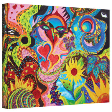 Brushstone Hearts And Flowers Gallery Wrapped Canvas Wall Art