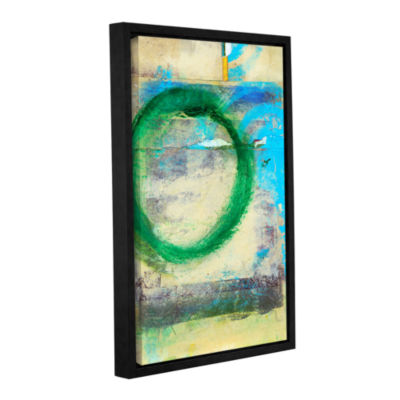 Brushstone Green Circle Gallery Wrapped Floater-Framed Canvas Wall Art