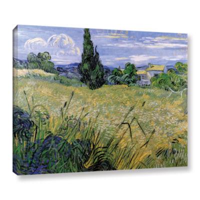Brushstone Green Wheat Field With Cypress GalleryWrapped Canvas Wall Art