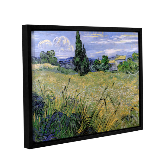 Brushstone Green Wheat Field With Cypress GalleryWrapped Floater-Framed Canvas Wall Art