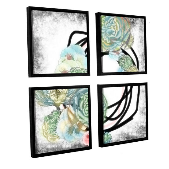 Brushstone Green Flowers 4-pc. Square Floater Framed Canvas Wall Art
