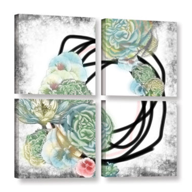 Brushstone Green Flowers 4-pc. Square Gallery Wrapped Canvas Wall Art