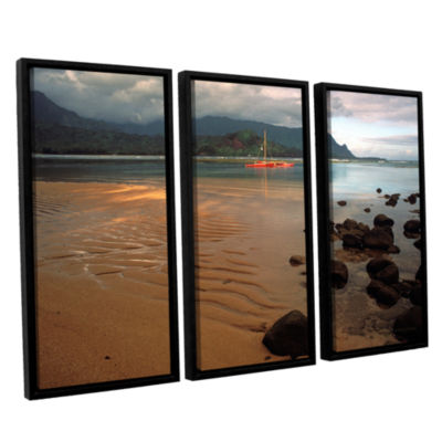 Brushstone Hanalei Bay At Dawn 3-pc. Floater Framed Canvas Wall Art