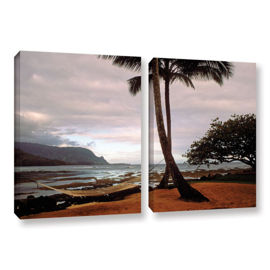 Brushstone Hanalei Bay Hammock At Dawn 2-pc. Gallery Wrapped Canvas Wall Art
