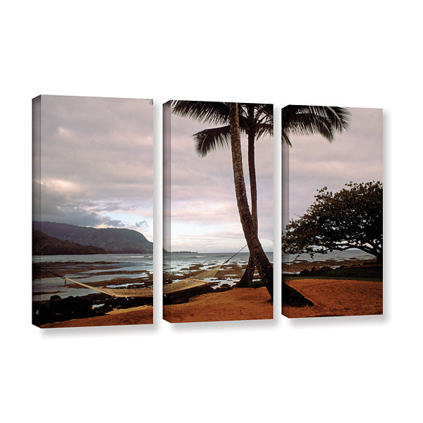 Brushstone Hanalei Bay Hammock At Dawn 3-pc. Gallery Wrapped Canvas Wall Art