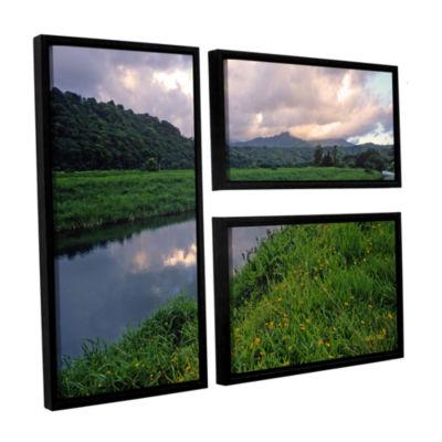 Brushstone Hanalei River Reflections 3-pc. Flag Floater Framed Canvas Wall Art