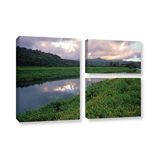 Brushstone Hanalei River Reflections 3-pc. Flag Gallery Wrapped Canvas Wall Art