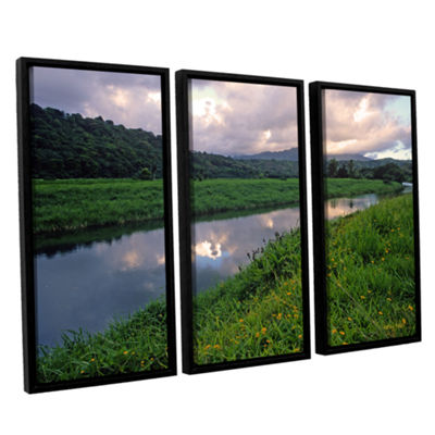 Brushstone Hanalei River Reflections 3-pc. FloaterFramed Canvas Wall Art