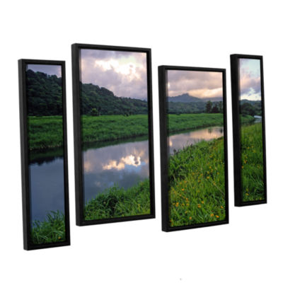 Brushstone Hanalei River Reflections 4-pc. FloaterFramed Staggered Canvas Wall Art