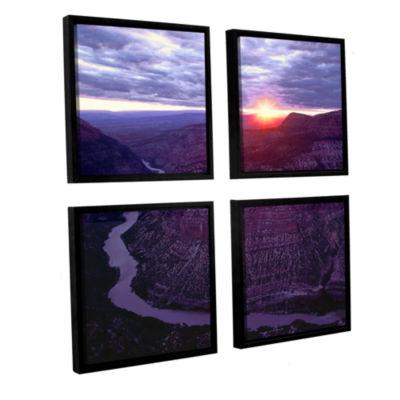 Brushstone Green River Dinosaur 4-pc. Square Floater Framed Canvas Wall Art