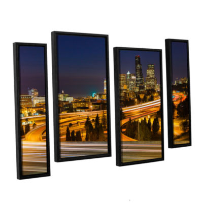 Brushstone Highway To Seattle 2 4-pc. Floater Framed Staggered Canvas Wall Art