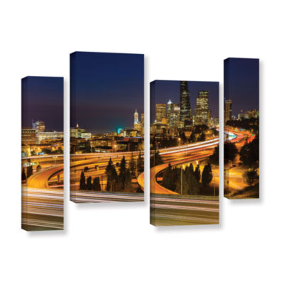 Brushstone Highway To Seattle 2 4-pc. Gallery Wrapped Staggered Canvas Wall Art