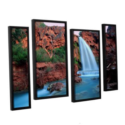 Brushstone Havasu Falls Dusk (135) 4-pc. Floater Framed Staggered Canvas Wall Art