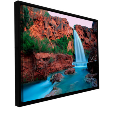 Brushstone Havasu Falls Dusk (135) Gallery WrappedFloater-Framed Canvas Wall Art