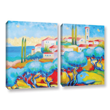 Brushstone Greece By The Sea 2-pc. Gallery WrappedCanvas Wall Art