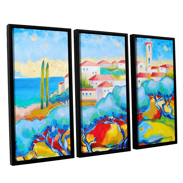 Brushstone Greece By The Sea 3-pc. Floater FramedCanvas Wall Art