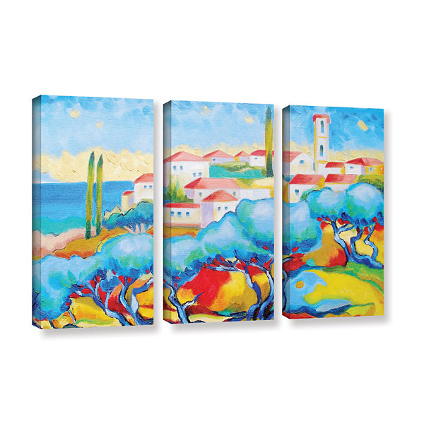 Brushstone Greece By The Sea 3-pc. Gallery WrappedCanvas Wall Art