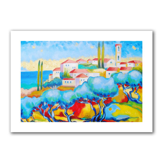 Brushstone Greece By The Sea Canvas Wall Art