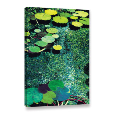 Brushstone Green Shimmering Gallery Wrapped CanvasWall Art
