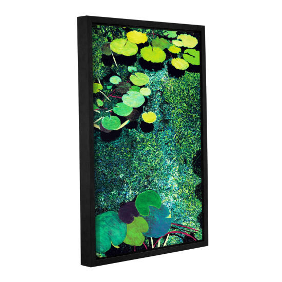 Brushstone Green Shimmering Gallery Wrapped Floater-Framed Canvas Wall Art