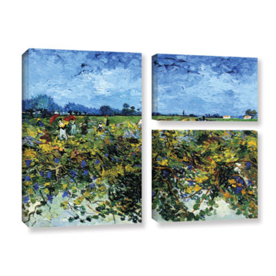 Brushstone Green Vineyard 3-pc. Flag Gallery Wrapped Canvas Wall Art